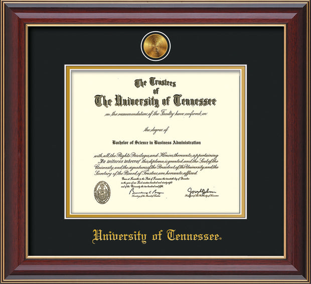 Image of niversity of Tennessee Diploma Frame - Cherry Lacquer - w/24k Gold Plated Medallion UTK Name Embossing - Black on Gold Mat