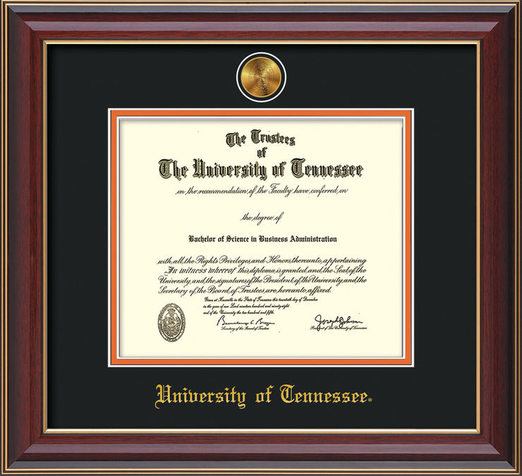Image of University of Tennessee Diploma Frame - Cherry Lacquer - w/24k Gold Plated Medallion UTK Name Embossing - Black on Orange Mat