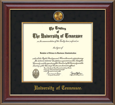 Image of University of Tennessee Diploma Frame - Cherry Lacquer - w/24k Gold Plated Medallion & Fillet - w/UTK Name Embossing - Black Suede Mat