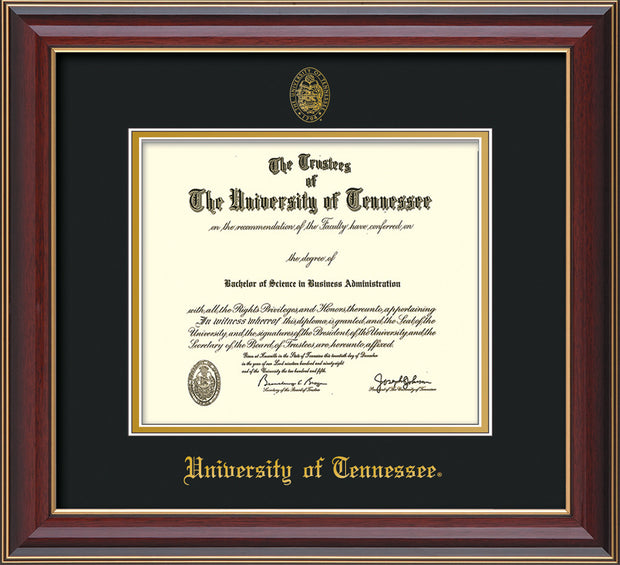 Image of University of Tennessee Diploma Frame - Cherry Lacquer - w/Embossed UTK Seal & Name - Black on Gold Mat