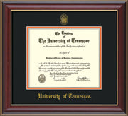 Image of University of Tennessee Diploma Frame - Cherry Lacquer - w/Embossed UTK Seal & Name - Black on Orange Mat