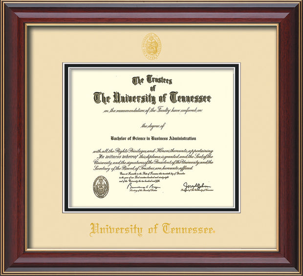 Image of University of Tennessee Diploma Frame - Cherry Lacquer - w/Embossed UTK Seal & Name - Cream on Black Mat