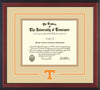 Image of University of Tennessee Diploma Frame - Cherry Reverse - w/Laser Power T Logo Cutout - Cream on Orange mat