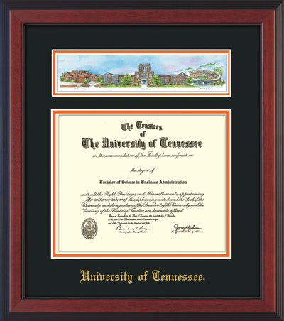 Image of University of Tennessee Diploma Frame - Cherry Reverse - w/Embossed UTK School Name Only - Campus Collage - Black on Orange mat