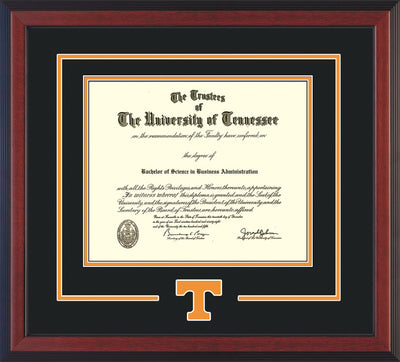 Image of University of Tennessee Diploma Frame - Cherry Reverse - w/Laser Power T Logo Cutout - Black on Orange mat