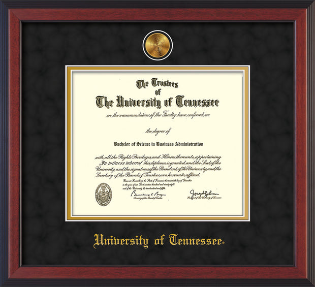 Image of University of Tennessee Diploma Frame - Cherry Reverse - w/24k Gold Plated Medallion UTK Name Embossing - Black Suede on Gold Mat