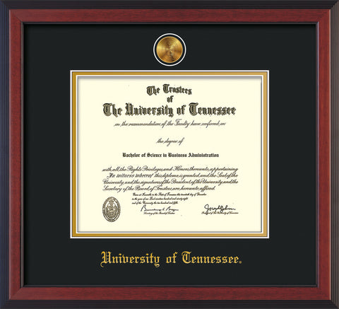 Image of University of Tennessee Diploma Frame - Cherry Reverse - w/24k Gold Plated Medallion UTK Name Embossing - Black on Gold Mat