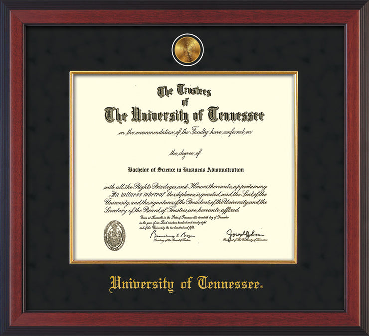 Image of University of Tennessee Diploma Frame - Cherry Reverse - w/24k Gold Plated Medallion & Fillet - w/UTK Name Embossing - Black Suede Mat