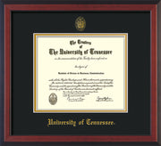 Image of University of Tennessee Diploma Frame - Cherry Reverse - w/Embossed UTK Seal & Name - Black on Gold Mat