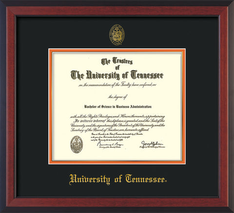 Image of University of Tennessee Diploma Frame - Cherry Reverse - w/Embossed UTK Seal & Name - Black on Orange Mat