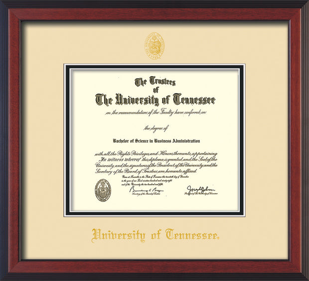 Image of University of Tennessee Diploma Frame - Cherry Reverse - w/Embossed UTK Seal & Name - Cream on Black Mat