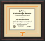 Image of University of Tennessee Diploma Frame - Mahogany Braid- w/Laser Power T Logo Cutout - Cream on Orange mat