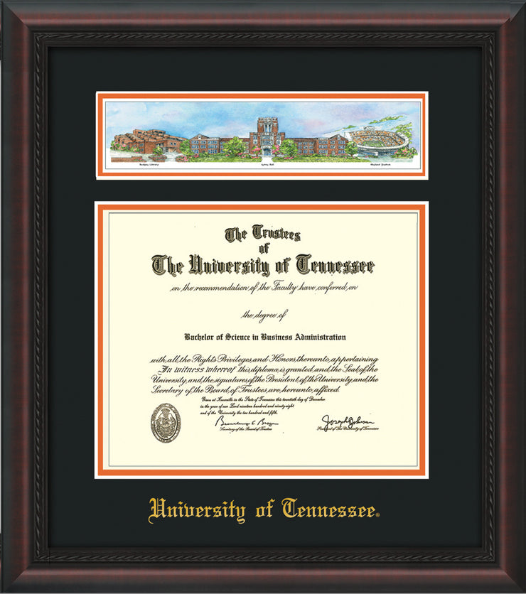 Image of University of Tennessee Diploma Frame - Mahogany Braid - w/Embossed UTK School Name Only - Campus Collage - Black on Orange mat