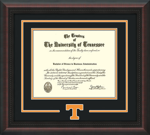 Image of University of Tennessee Diploma Frame - Mahogany Braid - w/Laser Power T Logo Cutout - Black on Orange mat