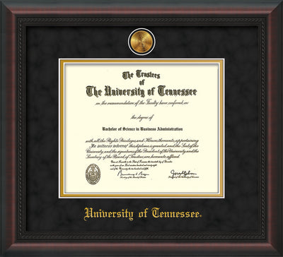 Image of University of Tennessee Diploma Frame - Mahogany Braid - w/24k Gold Plated Medallion UTK Name Embossing - Black Suede on Gold Mat