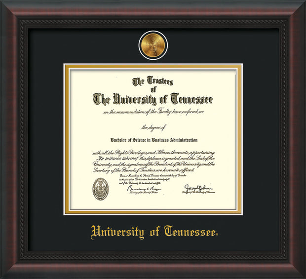 Image of University of Tennessee Diploma Frame - Mahogany Braid - w/24k Gold Plated Medallion UTK Name Embossing - Black on Gold Mat