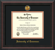 Image of University of Tennessee Diploma Frame - Mahogany Braid - w/24k Gold Plated Medallion UTK Name Embossing - Black on Orange Mat