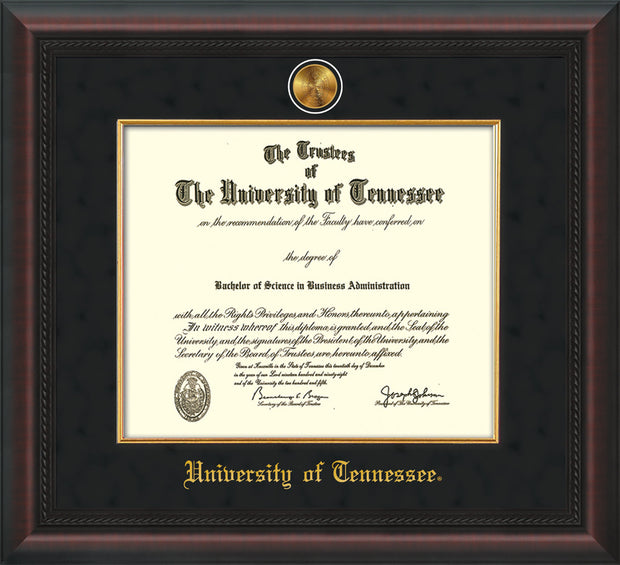 Image of University of Tennessee Diploma Frame - Mahogany Braid - w/24k Gold Plated Medallion & Fillet - w/UTK Name Embossing - Black Suede Mat