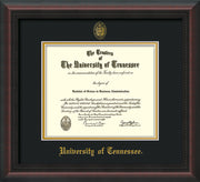 Image of University of Tennessee Diploma Frame - Mahogany Braid - w/Embossed UTK Seal & Name - Black on Gold Mat