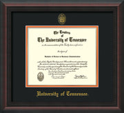 Image of University of Tennessee Diploma Frame - Mahogany Braid - w/Embossed UTK Seal & Name - Black on Orange Mat