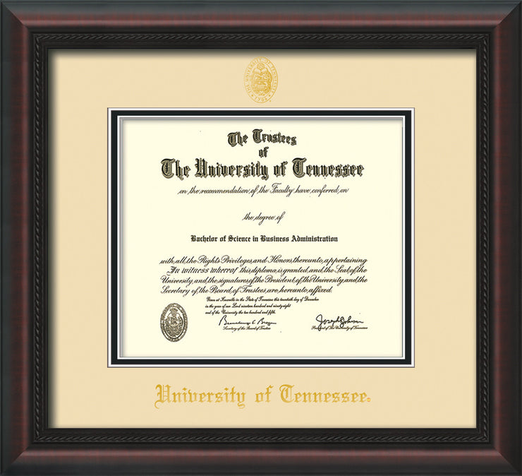 Image of University of Tennessee Diploma Frame - Mahogany Braid - w/Embossed UTK Seal & Name - Cream on Black Mat