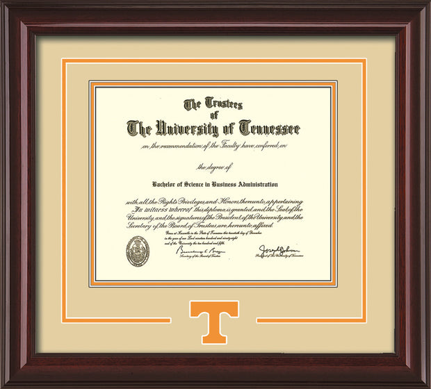 Image of University of Tennessee Diploma Frame - Mahogany Lacquer - w/Laser Power T Logo Cutout - Cream on Orange mat