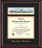 Image of University of Tennessee Diploma Frame - Mahogany Lacquer - w/Embossed UTK School Name Only - Campus Collage - Black on Orange mat