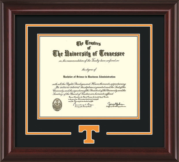 Image of University of Tennessee Diploma Frame - Mahogany Lacquer - w/Laser Power T Logo Cutout - Black on Orange mat