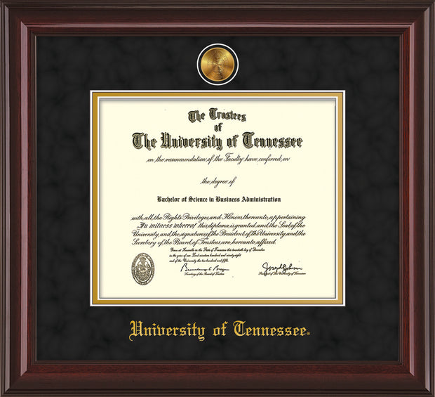 Image of University of Tennessee Diploma Frame - Mahogany Lacquer - w/24k Gold Plated Medallion UTK Name Embossing - Black Suede on Gold Mat