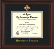 Image of University of Tennessee Diploma Frame - Mahogany Lacquer - w/24k Gold Plated Medallion UTK Name Embossing - Black on Gold Mat