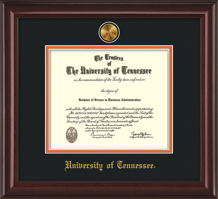 Image of University of Tennessee Diploma Frame - Mahogany Lacquer - w/24k Gold Plated Medallion UTK Name Embossing - Black on Orange Mat