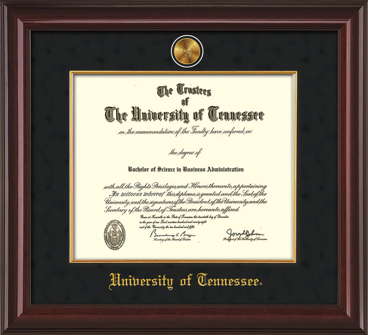 Image of University of Tennessee Diploma Frame - Mahogany Lacquer - w/24k Gold Plated Medallion & Fillet - w/UTK Name Embossing - Black Suede Mat