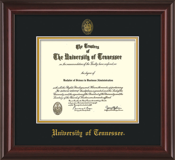 Image of University of Tennessee Diploma Frame - Mahogany Lacquer - w/Embossed UTK Seal & Name - Black on Gold Mat