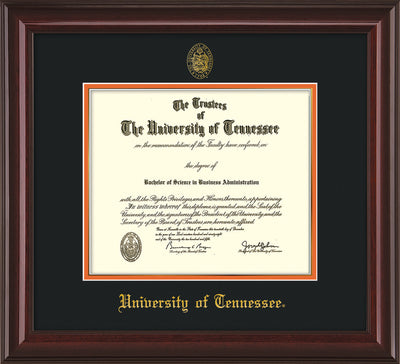 Image of University of Tennessee Diploma Frame - Mahogany Lacquer - w/Embossed UTK Seal & Name - Black on Orange Mat