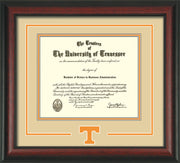Image of University of Tennessee Diploma Frame - Rosewood - w/Laser Power T Logo Cutout - Cream on Orange mat