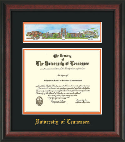 Image of University of Tennessee Diploma Frame - Rosewood - w/Embossed UTK School Name Only - Campus Collage - Black on Orange mat
