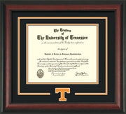 Image of University of Tennessee Diploma Frame - Rosewood - w/Laser Power T Logo Cutout - Black on Orange mat