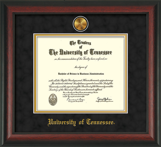 Image of University of Tennessee Diploma Frame - Rosewood - w/24k Gold Plated Medallion UTK Name Embossing - Black on Orange Mat