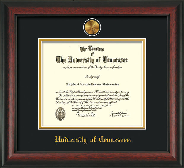 Image of University of Tennessee Diploma Frame - Rosewood - w/24k Gold Plated Medallion UTK Name Embossing - Black on Gold Mat