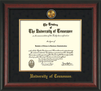 Image of University of Tennessee Diploma Frame - Rosewood - w/24k Gold Plated Medallion & Fillet - w/UTK Name Embossing - Black Suede Mat
