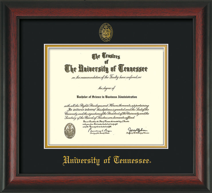 Image of University of Tennessee Diploma Frame - Rosewood - w/Embossed UTK Seal & Name - Black on Gold Mat