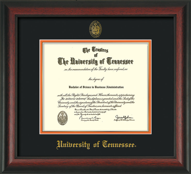 Image of University of Tennessee Diploma Frame - Rosewood - w/Embossed UTK Seal & Name - Black on Orange Mat