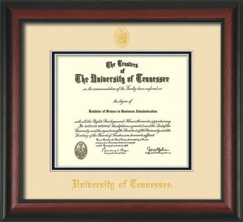 Image of University of Tennessee Diploma Frame - Rosewood - w/Embossed UTK Seal & Name - Cream on Black Mat