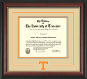 Image of University of Tennessee Diploma Frame - Rosewood w/Gold Lip- w/Laser Power T Logo Cutout - Cream on Orange mat