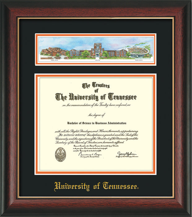 Image of University of Tennessee Diploma Frame - Rosewood w/Gold Lip - w/Embossed UTK School Name Only - Campus Collage - Black on Orange mat
