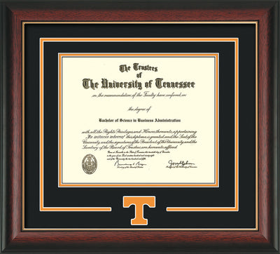 Image of University of Tennessee Diploma Frame - Rosewood w/Gold Lip - w/Laser Power T Logo Cutout - Black on Orange mat