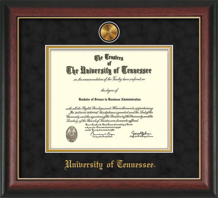 Image of University of Tennessee Diploma Frame - Rosewood w/Gold Lip - w/24k Gold Plated Medallion UTK Name Embossing - Black Suede on Gold Mat
