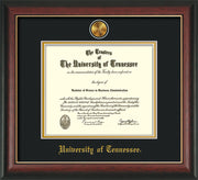 Image of University of Tennessee Diploma Frame - Rosewood w/Gold Lip - w/24k Gold Plated Medallion UTK Name Embossing - Black on Gold Mat
