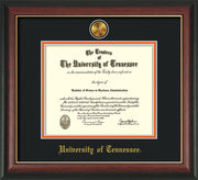 Image of University of Tennessee Diploma Frame - Rosewood w/Gold Lip - w/24k Gold Plated Medallion UTK Name Embossing - Black on Orange Mat