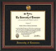 Image of University of Tennessee Diploma Frame - Rosewood w/Gold Lip - w/24k Gold Plated Medallion & Fillet - w/UTK Name Embossing - Black Suede Mat
